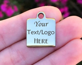 Personalized Stainless Steel Charm - Laser Engraved - Silver Square - 16mm x 20mm - Quantity Options - ZF3