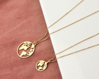 Earth necklace etsy earth necklace world map necklace world necklace wanderlust necklace dainty necklace gumiabroncs Gallery