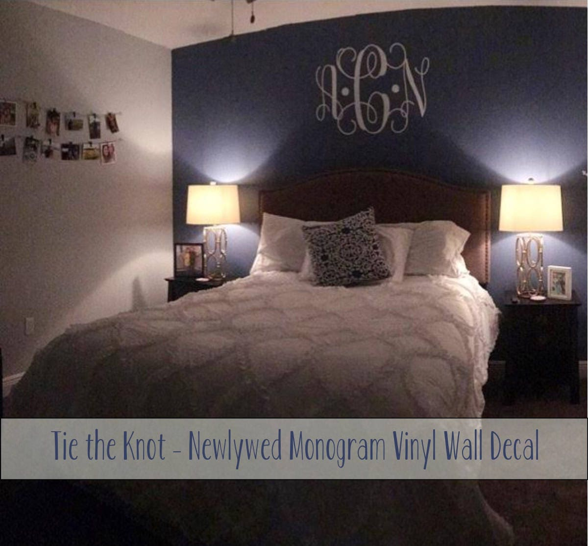 Vine Monogram Decal | Large Monogram Wall Decal | Master Bedroom Wall Decal | Wedding Monogram | Newlywed Monogram Wall Decal : large monogram wall decal - www.pureclipart.com