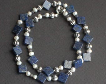 Lapis, Pearl, Iolite, and Pewter Necklace  17.25 inch length