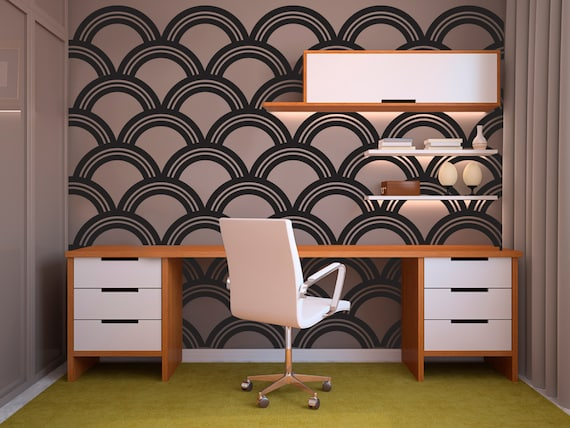 Art Deco Scallop Pattern Decal Wall Decal Custom Vinyl Art - Custom vinyl wall decals for classrooms