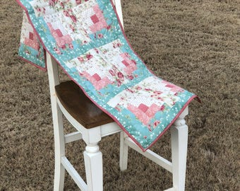 Quilted Handmade Country Floral Table runner-Maywood Studio fabric