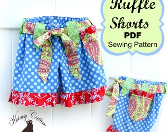 Girls Ruffle Shorts Pattern Sewing Tutorial with option for flat front many sizes PDF Instant