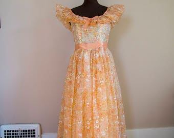 60s 70s Orange Floral Chiffon Gown Size Small As is Wounded Bird Extra Small