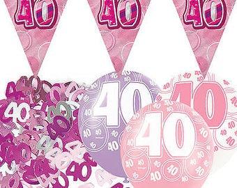 Pink Silver Girl Glitz 40th Birthday Flag Banner Party Decoration Pack Kit Set
