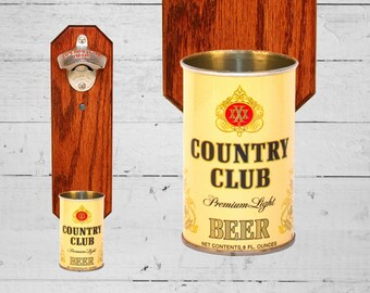 Wall Mounted Bottle Opener with Vintage Country Club Beer Can Cap Catcher - Gift for Groomsmen