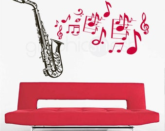 Wall decals SAXOPHONE with MUSIC NOTES Removable vinyl art stickers interior decor 41x68 inches