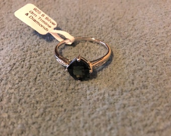 Natural tourmaline sterling silver ring