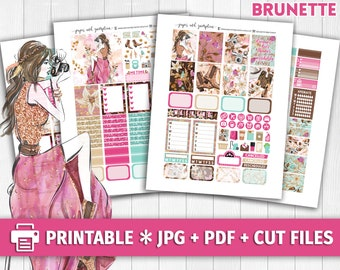 GLAM WANDERER BRUNETTE Printable Planner Stickers/for use with Erin Condren/Weekly Kit/Cutfiles/Glitter Headers Spring Boho Floral Fashion