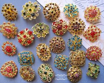 50 Brooch Lot Gold Rhinestone Brooch Mixed Color Brooch Pin Wholesale Brooch Crystal Wedding Brooch Bouquet Bridal Button Embellishment DIY