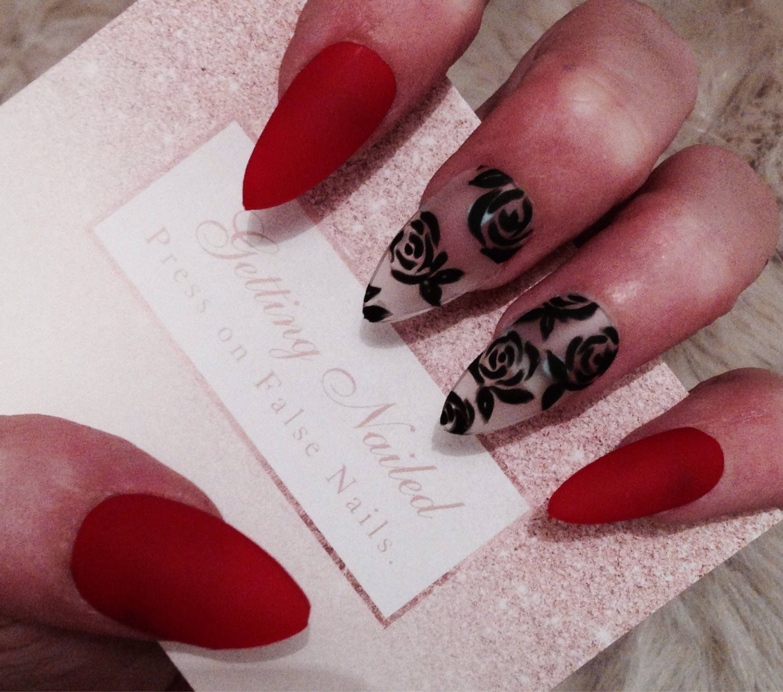 Red matte nails, black floral nails, black rose nails, false nail ...