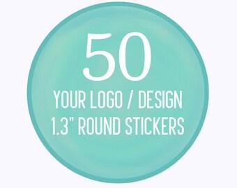 "50 Custom 1.3"" Round Stickers Your Logo or Design"
