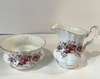 Royal Albert Lavender Rose sugar and creamer
