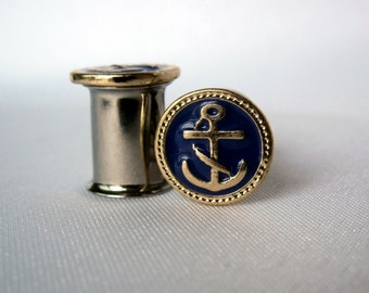 Pair of Nautical Gold Enamel Anchor Plugs - Girly Gauges - 4g, 2g, 0g, 00g, post earrings (6mm, 8mm, 10mm, 11mm) - Feminine Plugs