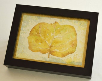 F-09 - Original Watercolor Painting Signed - Dried Sea Grape Leaf - FRAMED