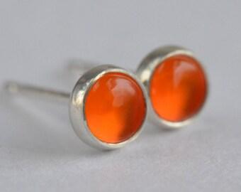 red orange carnelian 4mm sterling silver stud earrings pair
