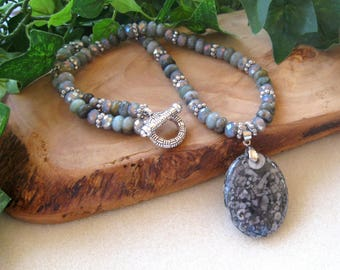 Fossil Jasper, Jade, Glass, Pewter, Beaded Necklace, Artisan Necklace, Pendant Necklace,  Gemstone Beads,  Gray Green