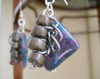 Livin' on the Edge earrings - ruby apatite, wood, chain, purple, teal, brown, grey