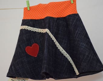 Girls Skirt Red Heart Orange Dots Denim Jeans RovaNova Handmade Unique