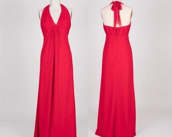 V-Neckline Empire Waist Halter Chiffon Dress | Bridesmaid dress | Bridal | Wedding | Chiffon dress | Long dress | Graduation | BM-U |