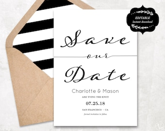 Wedding save the date template printable save the dates modern calligraphy save the date template printable save our date card kraft paper stopboris Images