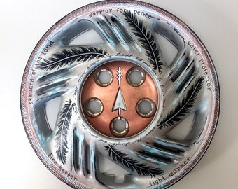 FEATHERED ARROW Hub Cap (Hand-painted, Recycled/Upcycled Art)