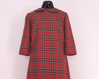Red tartan 1960s peter pan collar dress