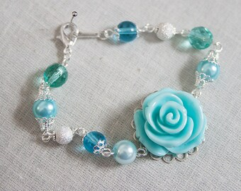 Handmade Aqua Rose Bracelet Aqua Pearl Bracelet Pearl Flower Bracelet Aqua Wedding Aqua Bridesmaid Bracelet Aqua Bracelet