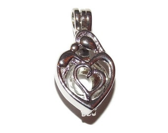 30% Off Sale Family Hug Heart Pearl Cage Silver Tone Bead Cage Pendant - Fits Pearl up to 7mm Diameter - for Pick a Pearl Oyster Jewelry Mak