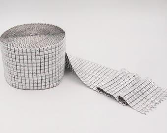 Silver Diamond Rhinestone Ribbon Wrap Bling, Party Supplies, Wedding Cake Vase Decorations, Bridal Shower, 4.8 in x 5 Yards