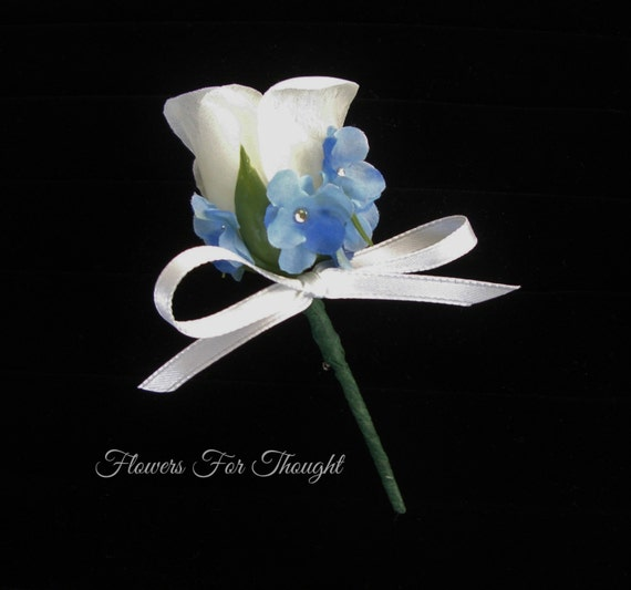 Rose boutonniere with forget me nots white and blue freerunsca Image collections
