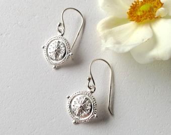 Petite silver etruscan style drop earrings