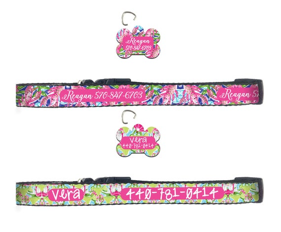 Preppy Dog Collar Lilly Inspired Personalized Dog Collar Dog Tag Pet ID Tag Combination Set Custom Gifts for Pet Lovers Pet Accessories