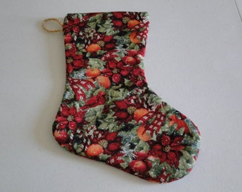 Poinsettias and Fruit Christmas Stocking