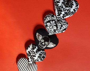 String of 5 hearts, black and white with silver grinning winged skull-gothic magical decor- mobile-ornament-door hanger-keepsake-gift.