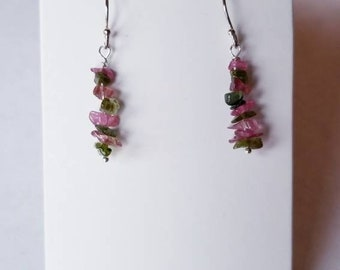 Brazilian Tourmaline Chip Bead Dangle Earrings 925 Sterling Silver Bridesmaid Bridal Jewelry Natural Gemstone Pink Green Beaded