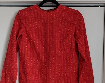 RED FLORAL FRILL Long Sleeve Cotton Top