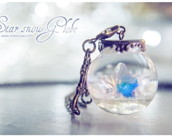 Snow-Globe necklace, christmas jewelry, star pendant, glass orb necklace, snow necklace swarovski star necklace inspirational gift for women