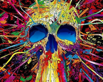 PSYCHEDELIC SKULLS ABSTRACT Colourful Paint Splash Pattern Wall Art Canvas Picture Print Various Sizes