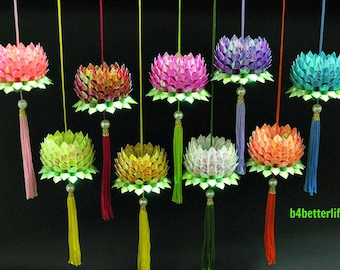 Lot of 9pcs Hand-folded Origami Hanging Lotus, size SMALL. (AV Paper Series). #FLT-32.