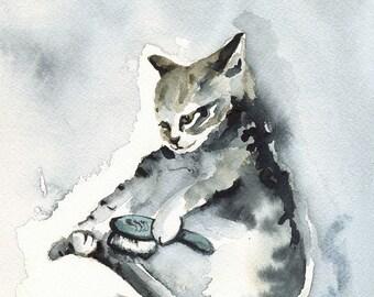 cat art- SOMEBODY has got to brush it