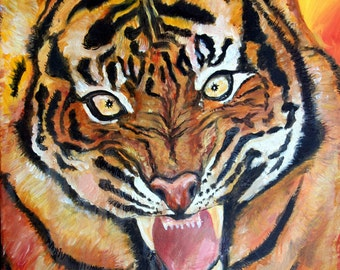 "Tiger Oil Painting Large Oringinal 16"" x 20"" on 100% Cotton Duck stretched Canvas by Douglas A Rohloff"