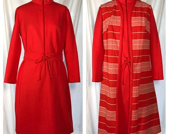 1970s Tangerine Orange Dress with Matching Vest and Belt - Size 16