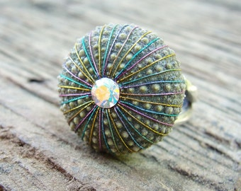 Sea Urchin Ring - Sterling Silver Multicolor Jewelry