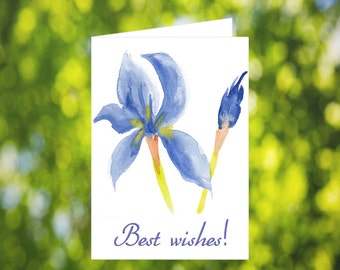 Printable Best Wishes Card: Watercolor Iris Card - Downloadable Card - Print at Home - Best Wishes Card Download - Blue Best Wishes Card