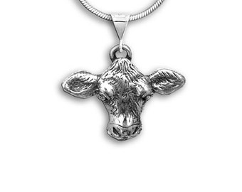 Sterling Silver Large Cow Pendant