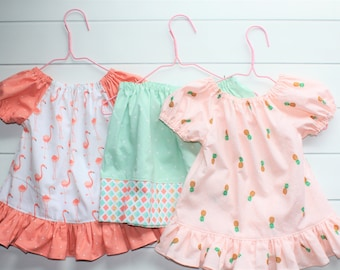 Toddler Girls Outfit - Girls Peasant Blouses - Toddler Girl Skirt - Girls Peach Blouse - Girls White Top - Girls Clothes - Girls Tops