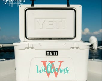 Yeti Cooler Decal | Name Decal | Monogrammed Cooler | Boater Gift | Yeti Tundra Monogram | Yeti Roadie Decal | Water Cooler Decal