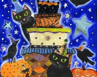 Halloween Party - 8x10 Colorful Whimsical Black Cat Raven Pumpkin Moon Star Print
