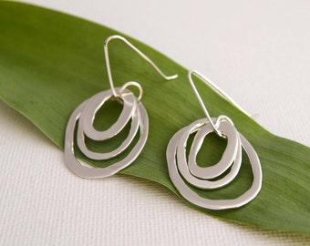 Silver Drop Earrings - Asymmetric Oval Drop Earrings - Long Silver Earrings